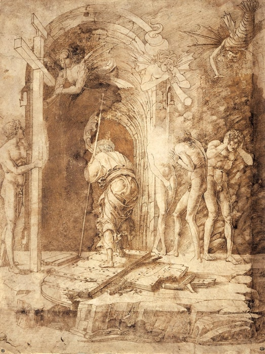 Andrea Mantegna: The Descent of Christ into Limbo, about 1468, pen and brown ink, brown wash on vellum, 37,2 x 28 cm, © Beaux-Arts de Paris, Dist. RMNGrand Palais / image Beaux-arts de Paris