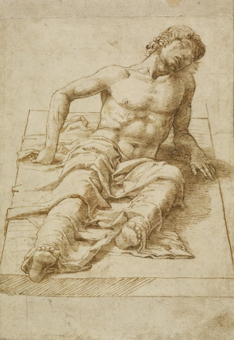 Andrea Mantegna: A man lying on a stone slab, late 1470s, Pen and brown ink over traces of black chalk on paper, 20,3 × 13,9 cm © The Trustees of The British Museum