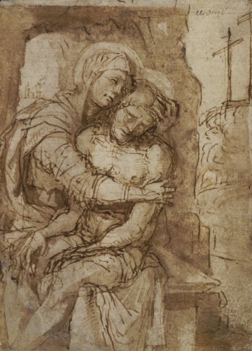 Giovanni Bellini: Pietà, 1465–70, Pen and brown ink, brown wash on paper, 12,9 x 9,2 cm, © The Trustees of The British Museum