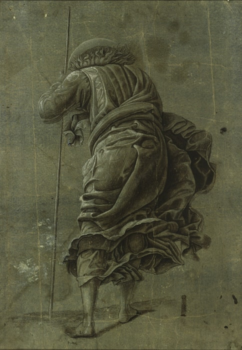 Studio of Andrea Mantegna: The Descent of Christ into Limbo, about 1490, brush in dark brown and grey with white heightening on blue prepared paper, 28,3 x 20,1 cm © Kupferstichkabinett, Staatliche Museen zu Berlin / Foto: Dietmar Katz