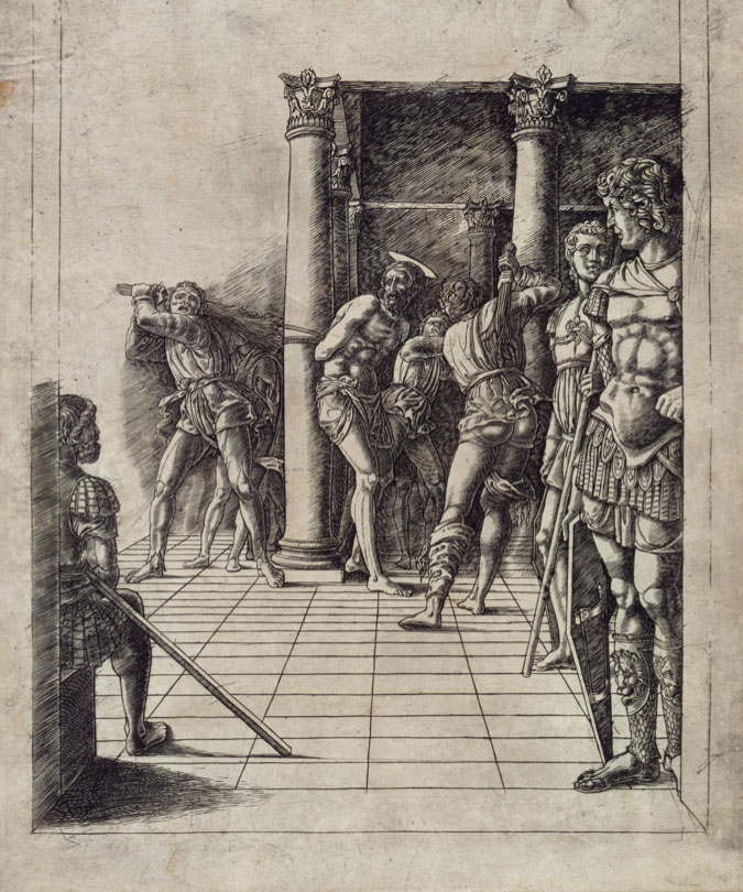 Circle of Andrea Mantegna: The Flagellation, about 1470-80, engraving, 40,5 x 31,8 cm, © The Trustees of The British Museum