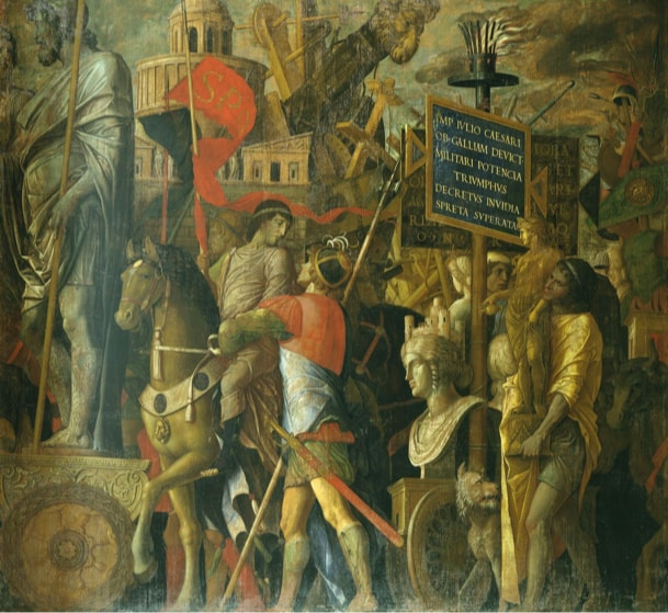 Andrea Mantegna: The Triumphs of Caesar II: The Standard-Bearers and Siege Equipment, mid 1480s – before 1506, egg tempera on canvas, 270,3 x 281,1 cm © Royal Collection Trust / Her Majesty Queen Elizabeth II