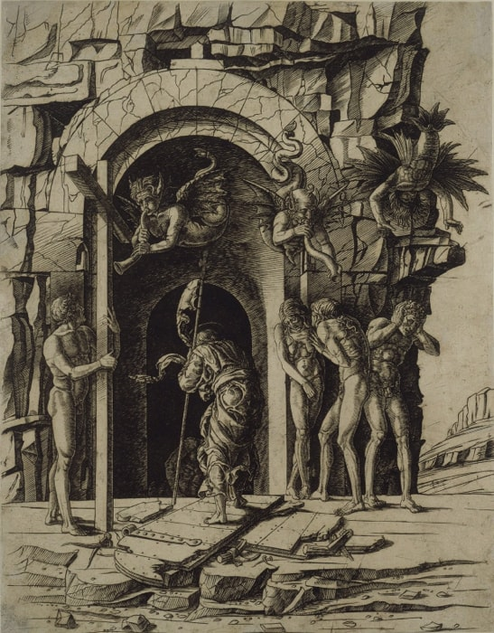Circle of Andrea Mantegna: The Descent of Christ into Limbo, about 1480–85, Engraving, printed in brown ink, 42,9 x 33,7 cm, © Kupferstichkabinett. Staatliche Museen zu Berlin / Foto: Dietmar Katz