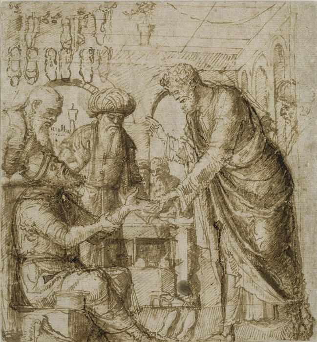 Attributes to Giovanni Bellini: Saint Mark healing Ananias, about 1485, pen and brown ink on paper, 18,4 × 17,2 cm, © Kupferstichkabinett. Staatliche Museen zu Berlin / Foto: Dietmar Katz
