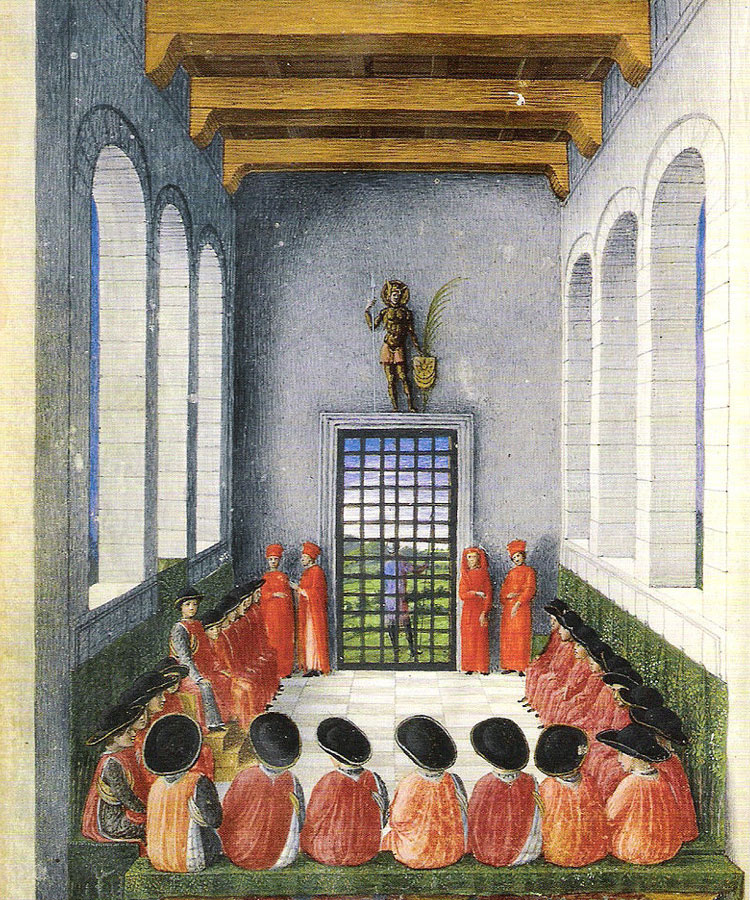 Attributed to Jacopo Bellini: Assembly of the Order of the Crescent, 1453, Miniatures from Jacopo Antonio Marcello, Passio Mauritii et sotiorum eius, tempera, gum or glue on vellum, 18,7 x 14 cm, © Bibliothèque Nationale de France, Paris
