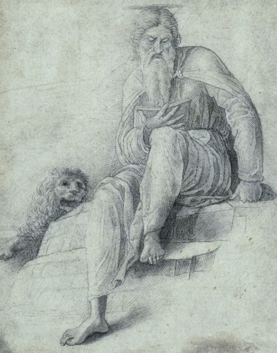 Attributed to Andrea Mantegna: Saint Jerome and the lion, around 1480–90, black chalk on paper, 17,3 × 13,6 cm © Kupferstichkabinett. Staatliche Museen zu Berlin / Foto: Dietmar Katz