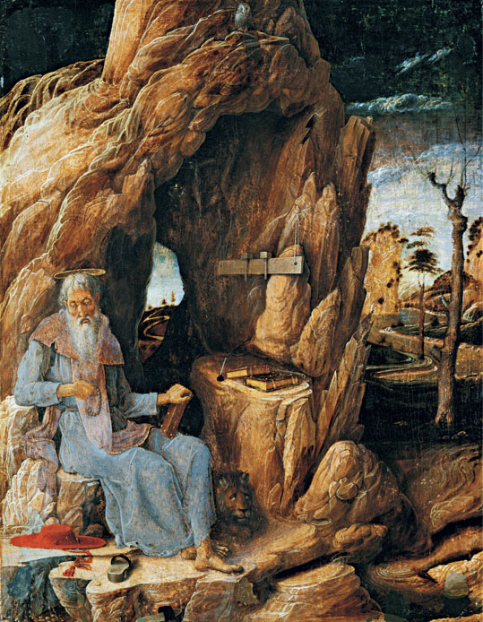 Andrea Mantegna: Saint Jerome in the Desert, 1448–1451, egg tempera on panel, 51 x 40 cm, © Museu de Arte de São Paulo Assis Chateaubriand / Foto: João Musa